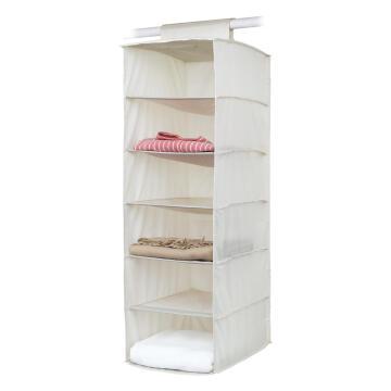 Shoe rack 6 shelf polyester beige