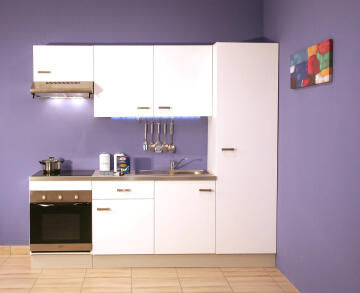 Kitchen Onebox incl:Defy S/line hood,Oven,ceramic Hob,sink,tap&worktop white 240cm