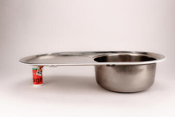 Kitchen sink 1 bowl 1 drainer stainless steel drop in CAM AFRICA 860 x 440mm