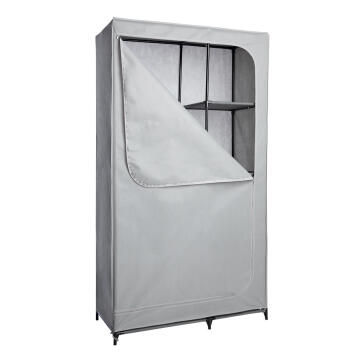 Wardrobe portable 4 shelves gey