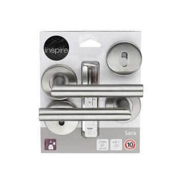 Door handles on round rose w/escutcheon brushed finish sarah inspire
