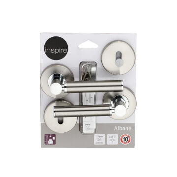 Door handles on round rose w/escutcheon satin nickel finish albane inspire