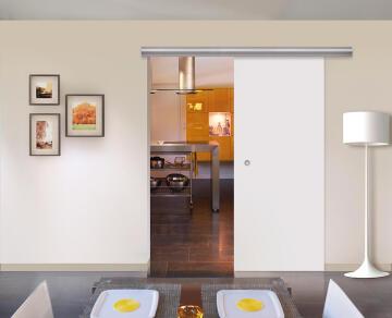 Interior Sliding Door kit with sliding mechanism MDF White Satin-w830xh2040mm