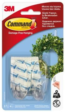 Clear hooks med damage-free hanging 2 hooks, 4 strips command 3M
