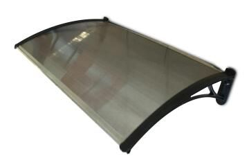 Awning Polycarbonate Multiwall Bronze-with Black PVC Brackets-w1200xd700mm