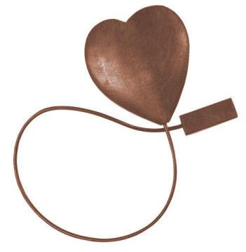 MAGNETIC TIEBACK HEART 3D BROWN