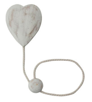 MAGNETIC TIEBACK HEART 3D WHITE WASHED