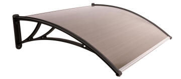 Awning Polycarbonate Multiwall Bronze-with Black PVC Brackets-w1200xd1000mm