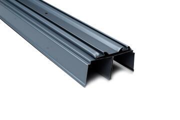 Set of 2 Wardrobe sliding door rail grey 120cm