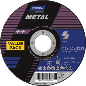 Cutting disc NORTON 115x1x22,2mm Metal 5 Pieces
