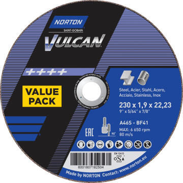 Cutting disc 230x1.9x22,2mm VULCAN 3 Pieces