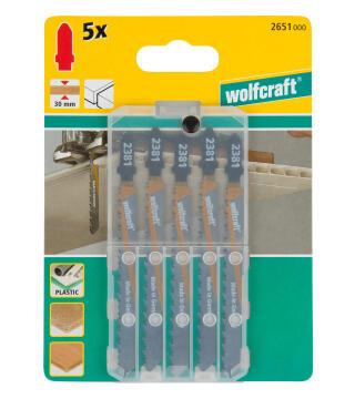 5 Jigsaw blades WOLFCRAFT T-shaft hcs clean cut