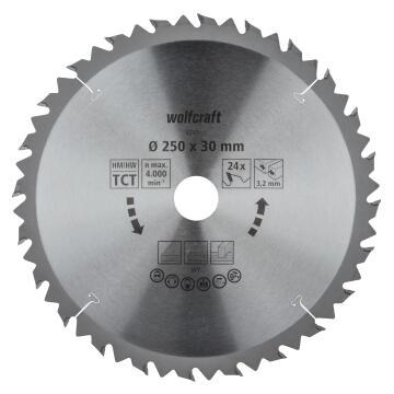 Circular saw blade WOLFCRAFT ct 24 teeth 250x30x32