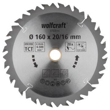 Circular saw blade WOLFCRAFT ct 20 teeth 160x20x24
