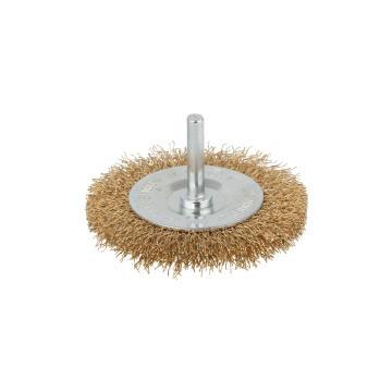 Brass wire wheel brush 6mm round shank WOLFCRAFT