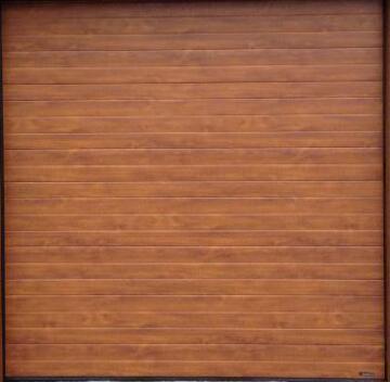 Garage Door Sectional Steel Insulated Stripe Golden Oak Textured-Single-w2440xh2140mm