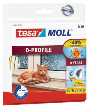 D-Profile TESAMOLL white 6m x 9mm x 8mm