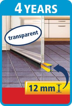Standard Door-to-floor Brush TESAMOLL transparent 1m x 37mm x 12mm