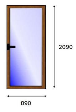 Service Door PVC Wood Laminated Full Light Right Hand Opening-w890xh2090mm