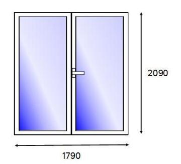 Patio Door PVC White Full Light Right Hand Opening-w1790xh2090mm
