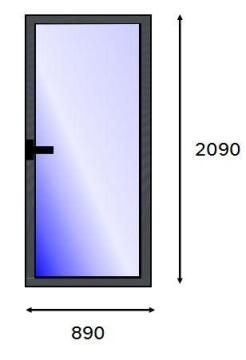 Service Door PVC Charcoal Laminated Full Light Right Hand Opening-w890xh2090mm