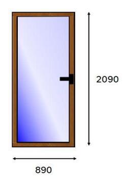 Service Door PVC Wood Laminated Full Light Left Hand Opening-w890xh2090mm