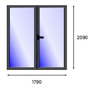 Patio Door PVC Charcoal Laminated Full Light Right Hand Opening-w1790xh2090mm