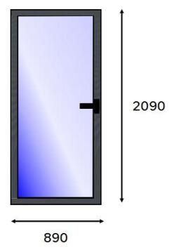 Service Door PVC Charcoal Laminated Full Light Left Hand Opening-w890xh2090mm