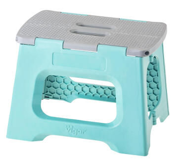 Compact foldable stool turquoise 23cm