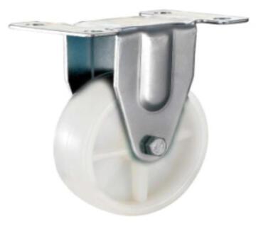 Nylon castor wheel white fixed plate 100mm l&g tools