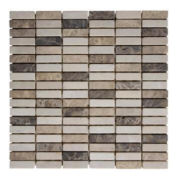 Mosaic Tile Stone Tumbled Marble Mix 300x300mm