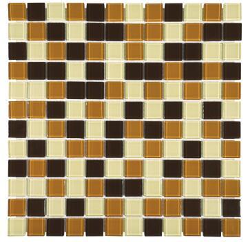 Mosaic Glass Tile FALCON Brown Mix 300x300mm