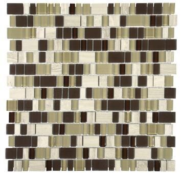 Mosiac Glass & Stone Tile FALCON Frosted Brown 300x300mm