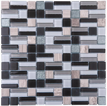 Mosaic Glass & Stone Tile Grey Mix 300x300mm