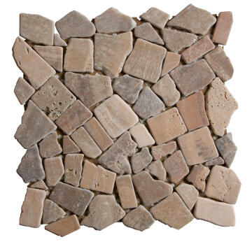 Mosaic Tile Stone Pebble Autumn Brown 305x305mm