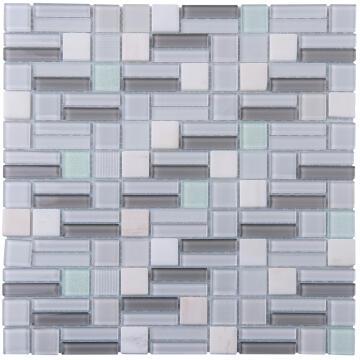 Mosaic Glass & Stone Tile White Mix 300x300mm