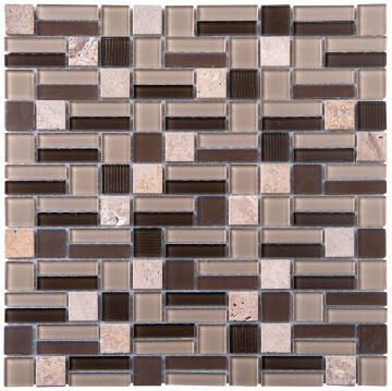 Mosaic Glass & Stone Beige Mix 300x300mm