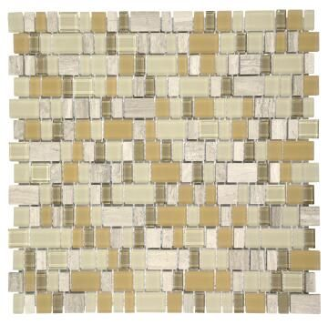 Mosaic Glass & Stone Tile Frosted Eggshell 300x300mm
