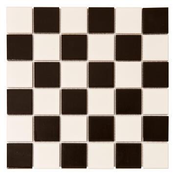 Mosaic Ceramic Checkered Black and White 300x300mm