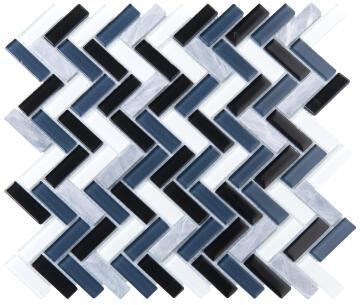 Mosaic Glass & Stone Tile V-Black Mix 300x300mm