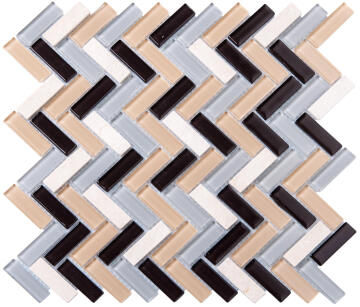 Mosaic Glass & Stone Tile V-Brown Mix 300x300mm