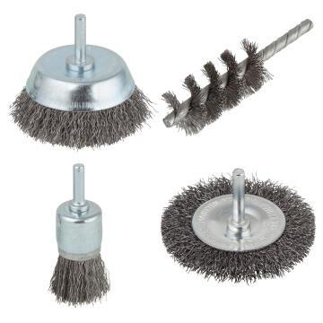 Set of 6 brushes round shank WOLFCRAFT