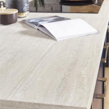 Kitchen worktop laminate travertin beige L300XD65XT3.8cm water repellent treatment