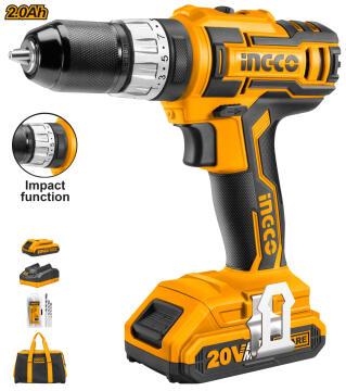 Impact drill cordless INGCO 20V 2 Bat Lit 2Ah