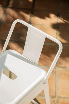 Chair Soho White Stool 66 cm High with Backrest