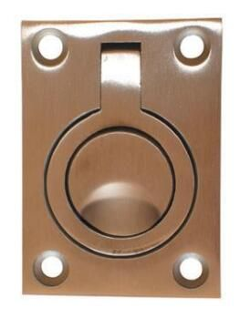 Door pull flush ring stainless steel 38x48mm euro brass