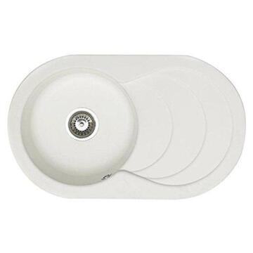 Sink Quartz+Resi Cascade 1B1D Wht 79X48