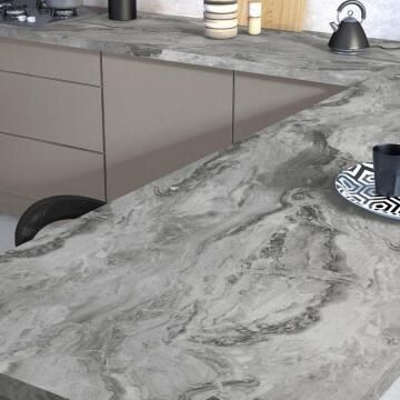 Kitchen worktop laminate marble grey L300XD65XT3.8cm water repellent treatment