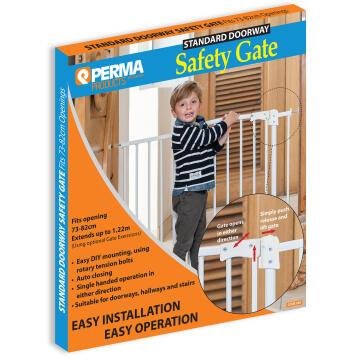 Baby safety gate standard doorway white perma