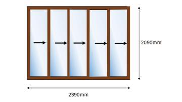 Folding Door Aluminium 5 Panel Bronze-Right Hand Opening-Open out-w4190xh2090mm